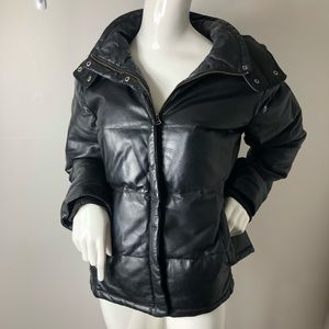Genuine Black Leather Puffer Coat Bomber Hood L